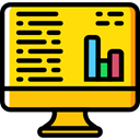 Laptop, monitor, screen, graphic, Seo And Web, Business, Stats, Analytics Icon