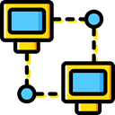 network, Connection, networking, computing Black icon