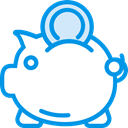 piggy bank, savings, funds, Commerce And Shopping, save, Money, coin DodgerBlue icon
