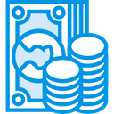 Notes, Business, Change, Money, Commerce And Shopping, Coins, Cash, stack, Currency DodgerBlue icon