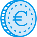 Euro, Business, Money, coin, Cash, Currency, Commerce And Shopping Lavender icon
