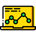 Laptop, Computer, Business, Stats, Analytics, graphic, Computering, Business And Finance Gold icon