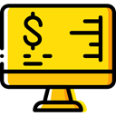 Laptop, monitor, screen, Business, Stats, Analytics, graphic, Business And Finance Gold icon