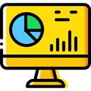 monitor, screen, Business, Stats, Laptop, Analytics, graphic, Business And Finance Gold icon