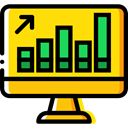Stats, Analytics, graphic, Business And Finance, Laptop, monitor, screen, Business Gold icon