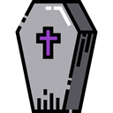 halloween, coffin, Box, cross, death DarkGray icon