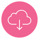 Down, download, Cloud, Circle, Content PaleVioletRed icon