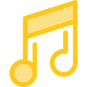 musical note, Quaver, Music And Multimedia, music, interface, music player, song Gold icon