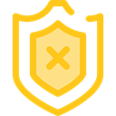 Protection, shield, weapons, defense, security Gold icon