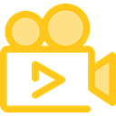 cinema, film, movie, ui, technology, video camera Gold icon