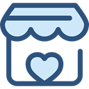 Heart, commerce, stand, market, donation, Charity, Commerce And Shopping DarkSlateBlue icon