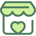 Heart, commerce, stand, market, donation, Charity, Commerce And Shopping DimGray icon