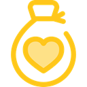 Heart, miscellaneous, Money, donation, money bag, Solidarity, Charity, Business And Finance Gold icon