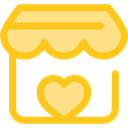 Heart, commerce, stand, market, donation, Charity, Commerce And Shopping Gold icon