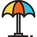 summer, vacations, Sun Umbrella, weather, Beach, Holidays Black icon