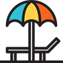 Beach, Holidays, summer, vacations, Sun Umbrella, Sunbed Black icon
