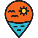 interface, pin, placeholder, Beach, signs, map pointer, Map Location, Map Point, Maps And Location Chocolate icon