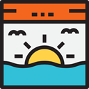 sun, weather, sunset, nature, sea, landscape, Dusk Icon