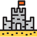 Toy, buildings, Beach, Holidays, childhood, vacations, medieval, Summertime, Sand Castle Black icon