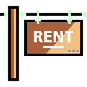 post, sign, rent, signs, real estate Black icon
