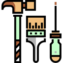 tools, hammer, Screwdriver, paint brush, Construction And Tools Black icon