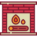 winter, warm, fireplace, Chimney, living room, Furniture And Household Brown icon