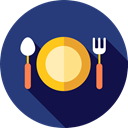 Tools And Utensils, Food And Restaurant, Fork, Knife, Plate, Restaurant, Dish, Cutlery DarkSlateBlue icon