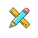 pencil, ruler Black icon