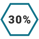 Info, Percent, graphic, Thirty Teal icon