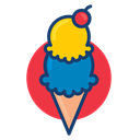 Ice cream, Colorful, dessert food Black icon