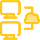 Computer, monitor, screen, networking Gold icon