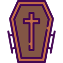 halloween, coffin, Box, cross, death Sienna icon