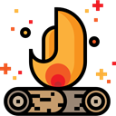 miscellaneous, hot, Camping, campfire, Burn, Flame, nature, Bonfire Black icon