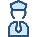 people, police, transportation, pilot, Captain, profession, stick man, Professions And Jobs Black icon