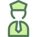 Captain, profession, stick man, Professions And Jobs, people, police, transportation, pilot Black icon