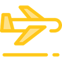 Airport, transportation, Plane, transport, flight, Aeroplane, airplane Gold icon