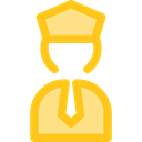 transportation, pilot, Captain, profession, stick man, Professions And Jobs, people, police Gold icon