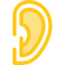 Ear, deaf, Sound Waves, Sound Bars, medical, listen, listening, ears Gold icon