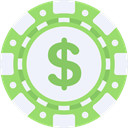 Casino, gamble, gambling, gambler, chips, Dollar Symbol AliceBlue icon