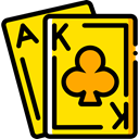 Cards, poker, gaming, Casino, Bet, gambling Gold icon