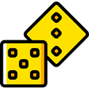 gaming, Casino, Bet, dices, gambling Gold icon