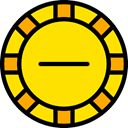 Chip, gaming, Casino, Bet, gambling Gold icon