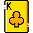 Cards, poker, gaming, Casino, Bet, Clubs, gambling Gold icon