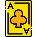 Cards, Clubs, gambling, poker, gaming, Casino, Bet Gold icon
