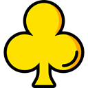 gaming, shapes, Casino, Clubs, poker, Game Gold icon