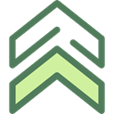 Arrows, Orientation, Direction, ui, Chevron, Military, up arrows, directional DimGray icon