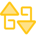 Arrows, switch, Arrow, swap, vertical, sort, Orientation, ui Gold icon