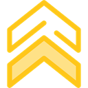 Arrows, Orientation, Direction, ui, Chevron, Military, up arrows, directional Gold icon