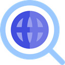 global, search, magnifying glass, Loupe, Earth Grid, World Grid LightSkyBlue icon