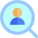 Human resources, search, magnifying glass, Business, hiring, Loupe PaleTurquoise icon